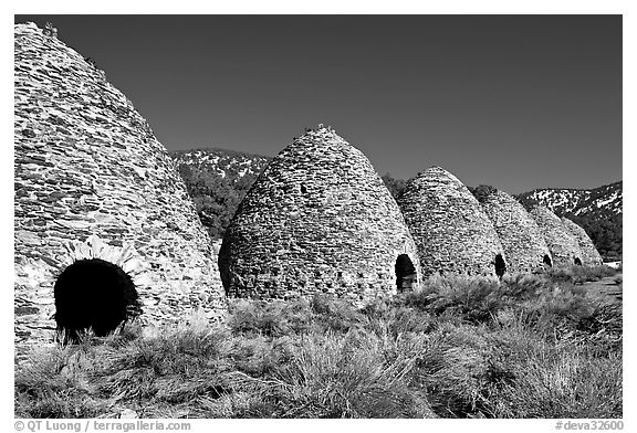Wildrose charcoal kilns, considered to be the best surviving examples found in the western states. Death Valley National Park (black and white)