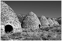 Wildrose charcoal kilns, considered to be the best surviving examples found in the western states. Death Valley National Park, California, USA. (black and white)