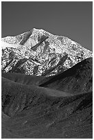 Telescope peak rising above sage-covered hills. Death Valley National Park, California, USA. (black and white)