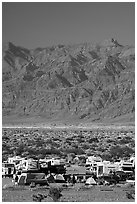Camp and RVs at Stovepipe Wells, with Armagosa Mountains in the background. Death Valley National Park, California, USA. (black and white)
