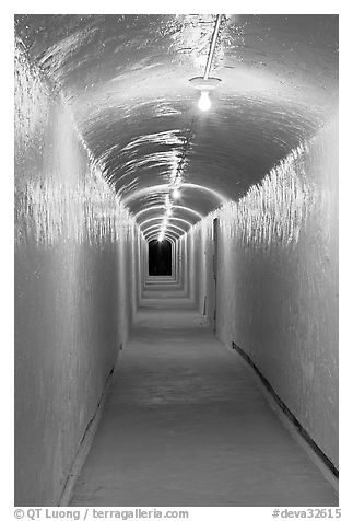 Access tunnel to Furnace Creek Inn by night. Death Valley National Park (black and white)