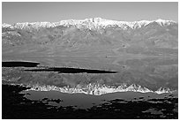 Telescope Peak and Panamint range reflected in a rare seasonal lake, early morning. Death Valley National Park, California, USA. (black and white)
