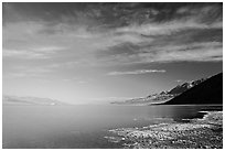 Valley and Lake at Badwater, early morning. Death Valley National Park ( black and white)