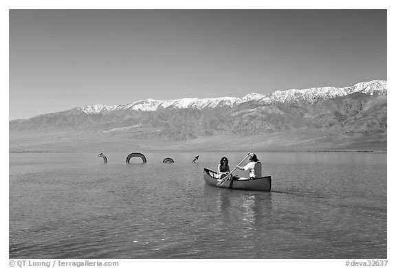 Canoe near the dragon in Manly Lake, below the Panamint Range. Death Valley National Park (black and white)
