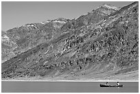 Canoe and Black Mountains. Death Valley National Park, California, USA. (black and white)