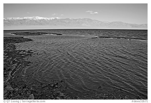 Flooded Badwater basin, early morning. Death Valley National Park (black and white)