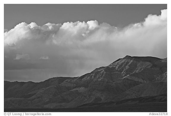 Clouds and mountains at sunset. Death Valley National Park (black and white)