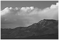 Clouds and mountains at sunset. Death Valley National Park, California, USA. (black and white)