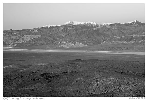 Panamint Valley and Panamint Range, dusk. Death Valley National Park (black and white)