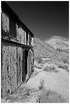 Shack in Leadfield ghost town. Death Valley National Park, California, USA. (black and white)