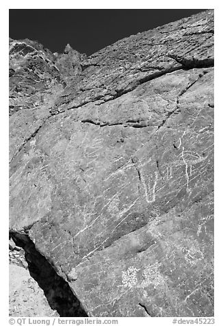 Native American petroglyphs, Titus Canyon. Death Valley National Park (black and white)