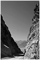 Mouth of Titus Canyon and valley. Death Valley National Park, California, USA. (black and white)