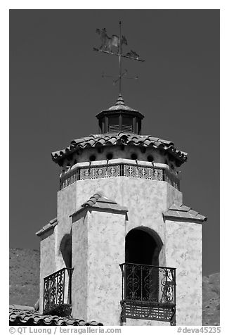 Tower and weathervane, Scotty's Castle. Death Valley National Park (black and white)