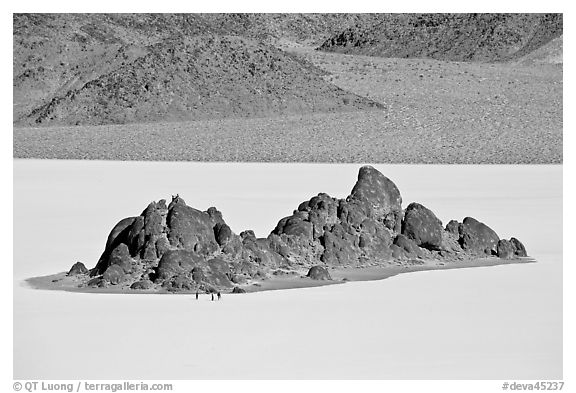 Grandstand and Racetrack playa. Death Valley National Park (black and white)