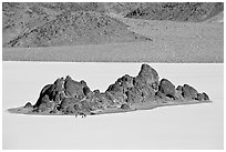 Grandstand and Racetrack playa. Death Valley National Park, California, USA. (black and white)