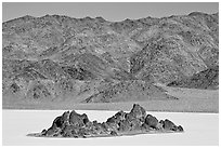 Grandstand and mountains. Death Valley National Park, California, USA. (black and white)