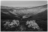 Ubehebe Crater at twilight. Death Valley National Park ( black and white)