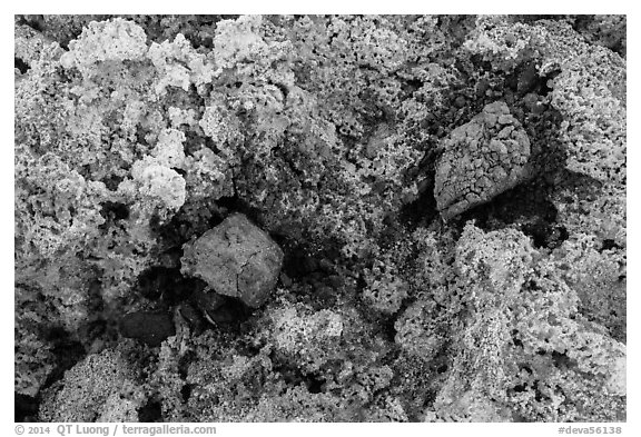 Close-up of salt crystals and red rocks. Death Valley National Park (black and white)