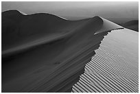 Dune ridges at sunset. Death Valley National Park ( black and white)