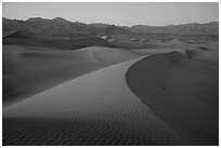 Dusk over the Mesquite Sand dunes. Death Valley National Park ( black and white)
