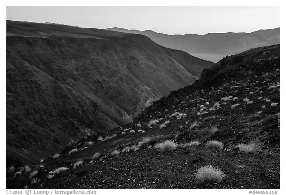 View from Father Crowley Viewpoint at sunrise. Death Valley National Park (black and white)