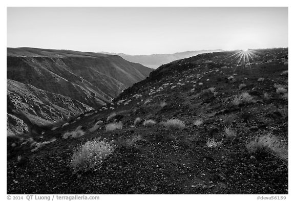 Sunrise, Father Crowley Viewpoint at sunrise. Death Valley National Park (black and white)