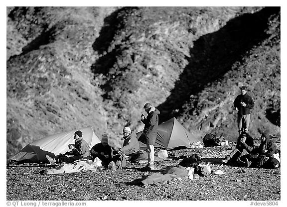 Group at backcountry camp. Death Valley National Park (black and white)