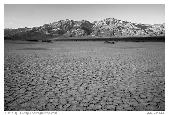 Mud playa, Panamint Valley. Death Valley National Park (black and white)