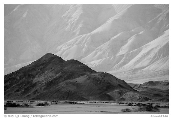Hill and mountains, Panamint Valley. Death Valley National Park (black and white)