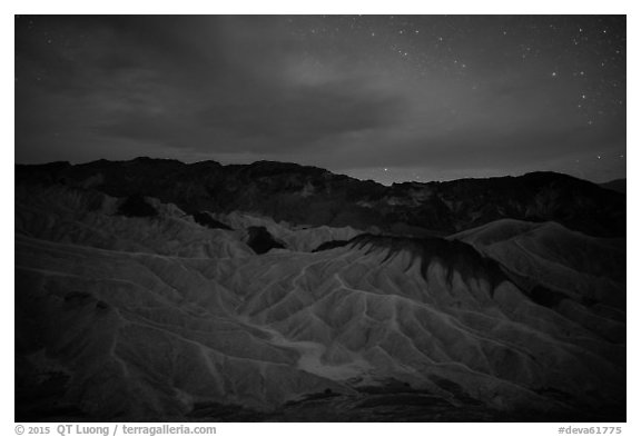 Badlands at night. Death Valley National Park (black and white)