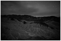 Badlands at night. Death Valley National Park ( black and white)