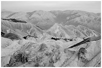 Badlands and mountains at sunrise, Twenty Mule Team Canyon. Death Valley National Park ( black and white)