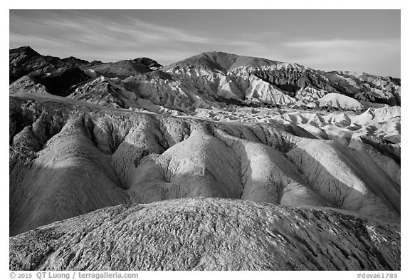 Twenty Mule Team Canyon badlands. Death Valley National Park (black and white)