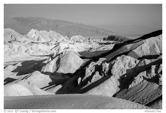 Twenty Mule Team Canyon and distant valley. Death Valley National Park (black and white)