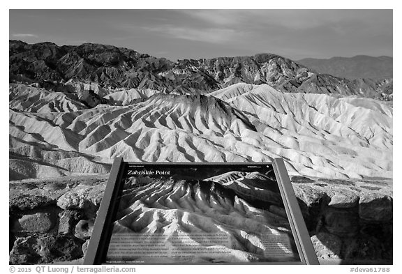 Zabriskie Point Interpretive sign. Death Valley National Park (black and white)