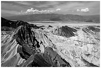 Manly Beacon and salt pan. Death Valley National Park ( black and white)