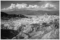 Manly Beacon and badlands near Zabriskie Point. Death Valley National Park ( black and white)