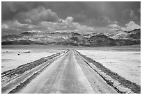 West Side Road crossing Salt Pan. Death Valley National Park ( black and white)