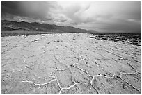Salt evaporation ridges. Death Valley National Park ( black and white)