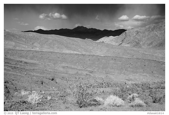 Black Mountains near Jubilee Pass. Death Valley National Park (black and white)