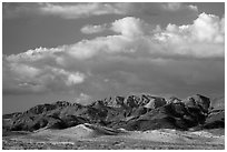 Distant Ibex Dunes and Saddle Peak Hills. Death Valley National Park ( black and white)