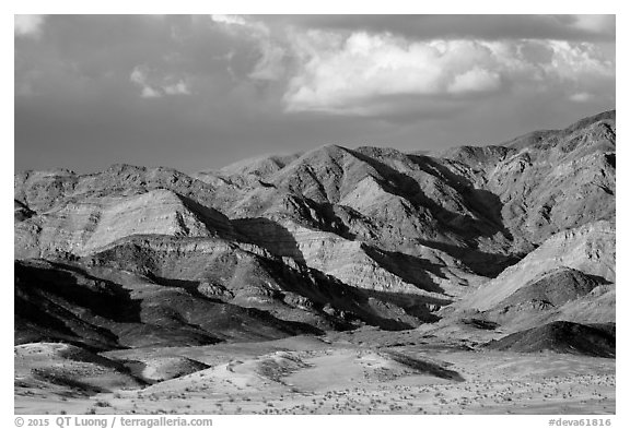 Distant Ibex Dunes at the base of multicolored mountains. Death Valley National Park (black and white)