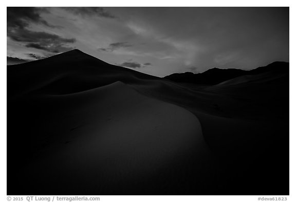 Ibex Sand Dunes at night. Death Valley National Park (black and white)