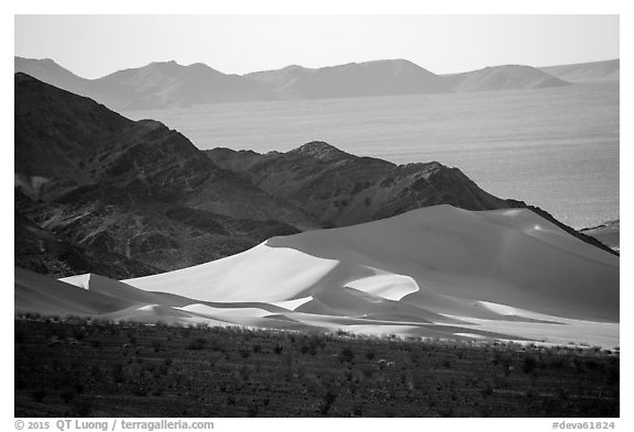 Ibex Dunes, mountains and valleys. Death Valley National Park (black and white)