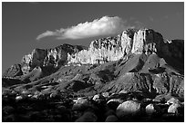 Boulders, El Capitan, and Guadalupe Range, sunset. Guadalupe Mountains National Park, Texas, USA. (black and white)