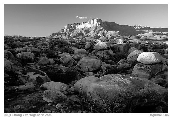 Boulders and El Capitan from the South, sunset. Guadalupe Mountains National Park (black and white)
