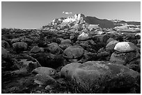 Boulders and El Capitan from the South, sunset. Guadalupe Mountains National Park, Texas, USA. (black and white)