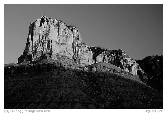 El Capitan from Guadalupe Pass, sunrise. Guadalupe Mountains National Park (black and white)