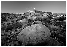 Boulders and Guadalupe range at sunset. Guadalupe Mountains National Park ( black and white)