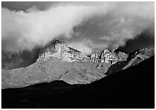 El Capitan and low clouds at sunrise. Guadalupe Mountains National Park, Texas, USA. (black and white)